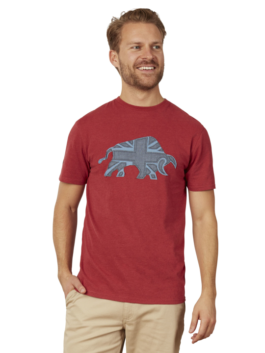 Raging Bull - Big & Tall Embroidered Bull Tee - Red