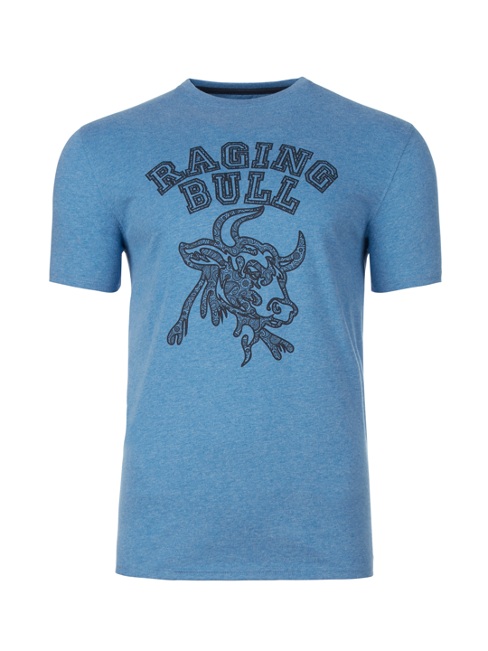 Raging Bull - Big & Tall Paisley Bull Head Tee - Denim Blue