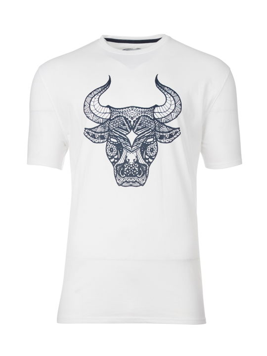 Raging Bull - Big & Tall Tribal Bull Tee - White