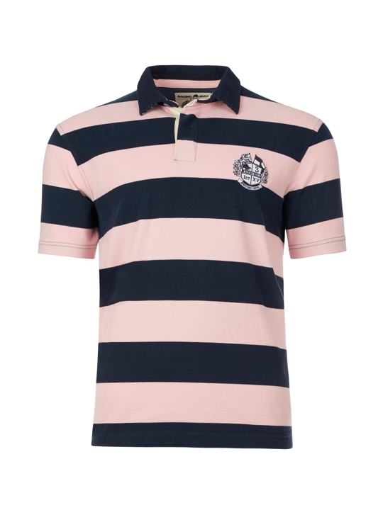 Raging Bull Big & Tall Short Sleeve Stripe Rugby - Pink