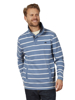 Raging Bull Big & Tall Stripe Quarter Zip Pique - Mid Blue