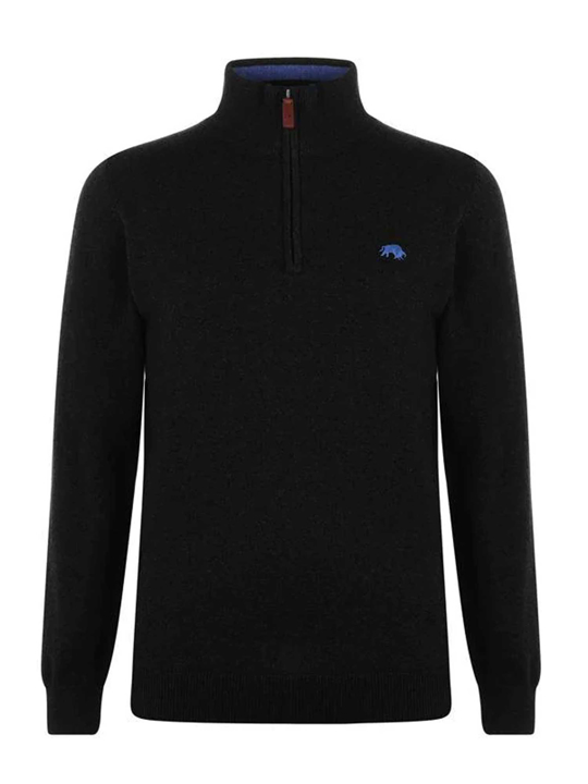 Raging Bull - Big & Tall - Knitted Cotton/Cashmere Quarter Zip - Black