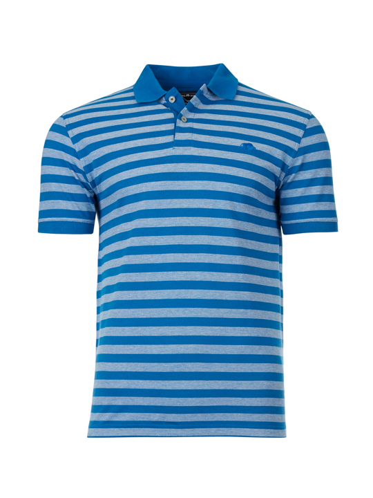 Raging Bull - Birdseye Stripe Polo - Cobalt Blue