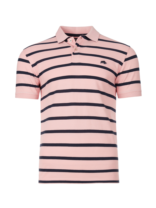 Raging Bull - Breton Stripe Polo - Pink