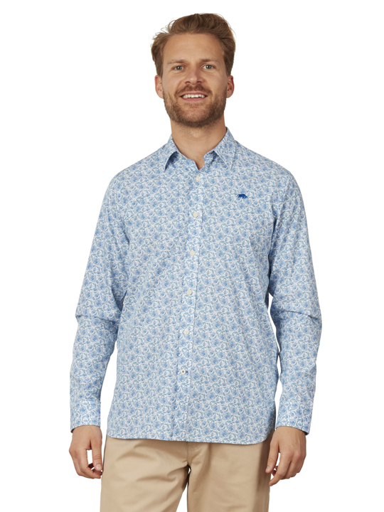 Raging Bull - Big & Tall Long Sleeve Ditzy Floral Shirt - Sky Blue
