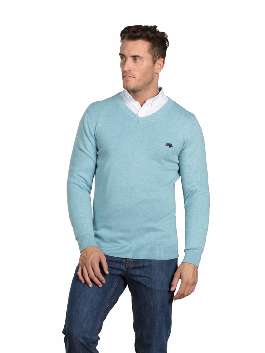 Raging Bull - Signature Lightweight V-Neck - Sea Blue