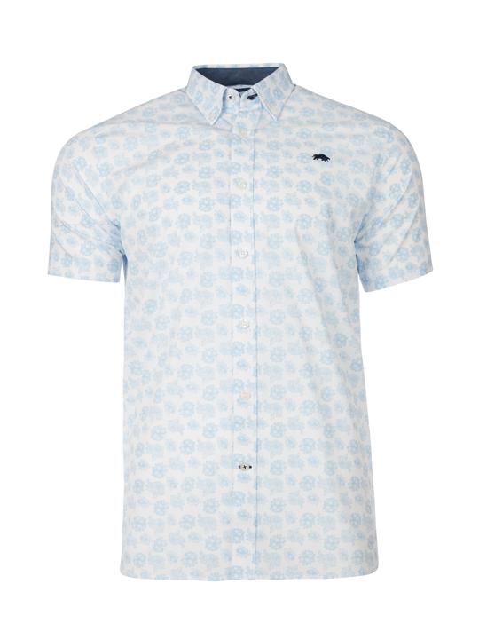 Raging Bull - Short Sleeve Floral Print Shirt - White