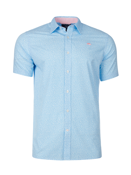 Raging Bull - Short Sleeve Micro Daisy Print Shirt - Sky Blue