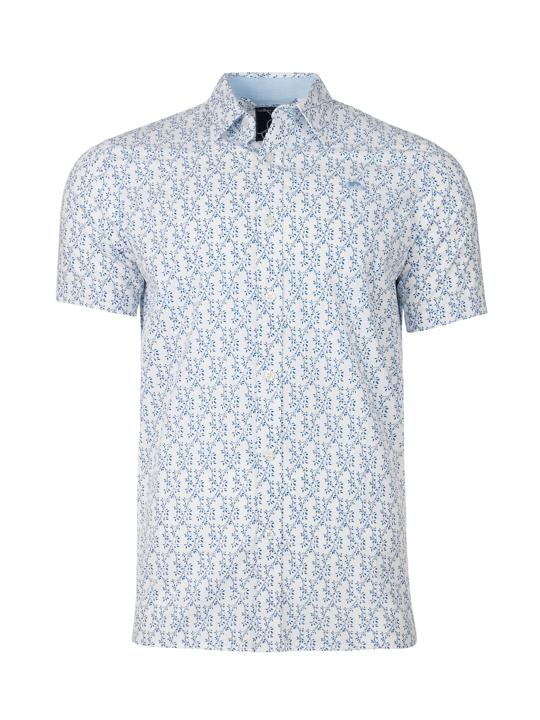 Raging Bull - Short Sleeve Spring Leaf Print Shirt - Cobalt