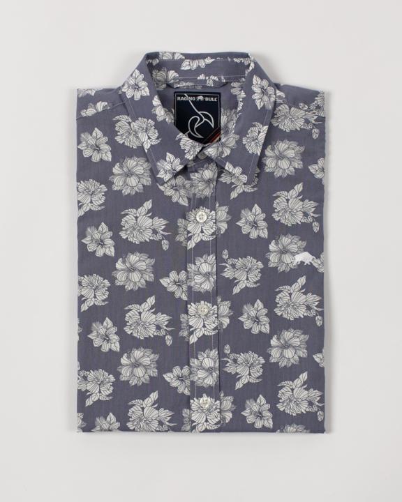 Raging Bull - Short Sleeve Floral Shirt - Chambray