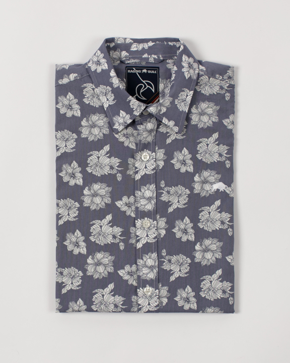 Raging Bull - Big & Tall Short Sleeve Floral Shirt - Chambray