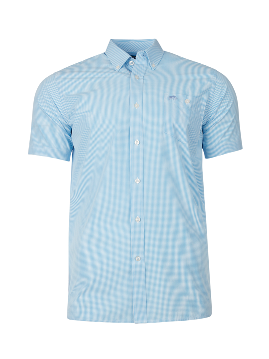 Raging Bull - Short Sleeve Gingham Shirt - Sky Blue