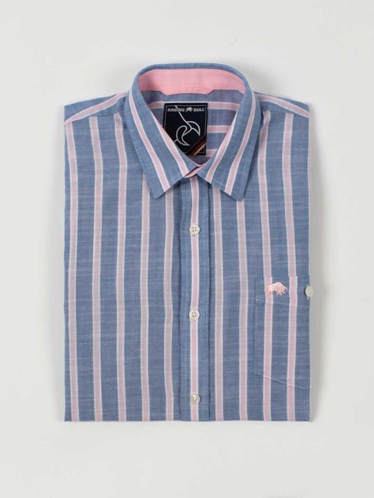 Raging Bull - Short Sleeve Stripe Linen Shirt - Mid Blue