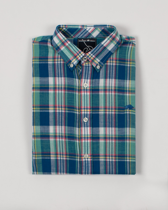 Raging Bull - Big & Tall Short Sleeve Madras Check Shirt - Mint
