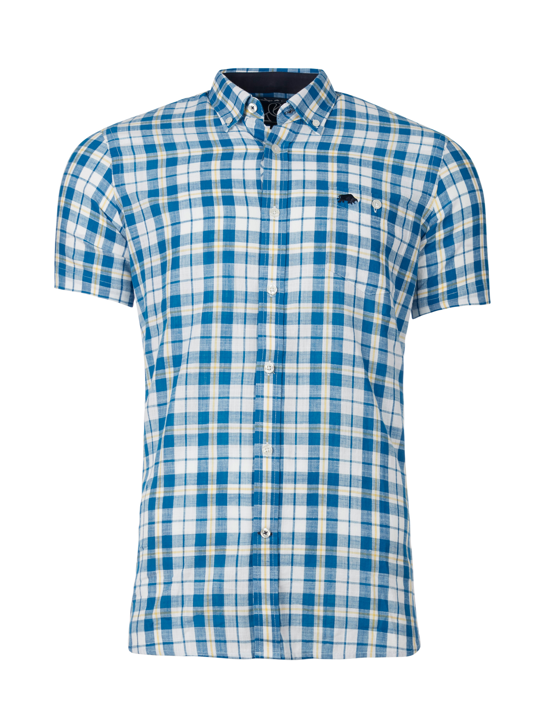 Raging Bull - Short Sleeve Check Shirt - Mid Blue