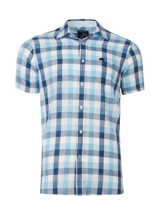 Raging Bull - Short Sleeve Oversized Gingham Shirt - Navy