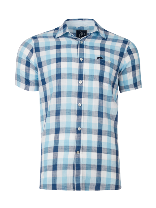 Raging Bull - Big & Tall Short Sleeve Oversized Gingham Shirt - Navy