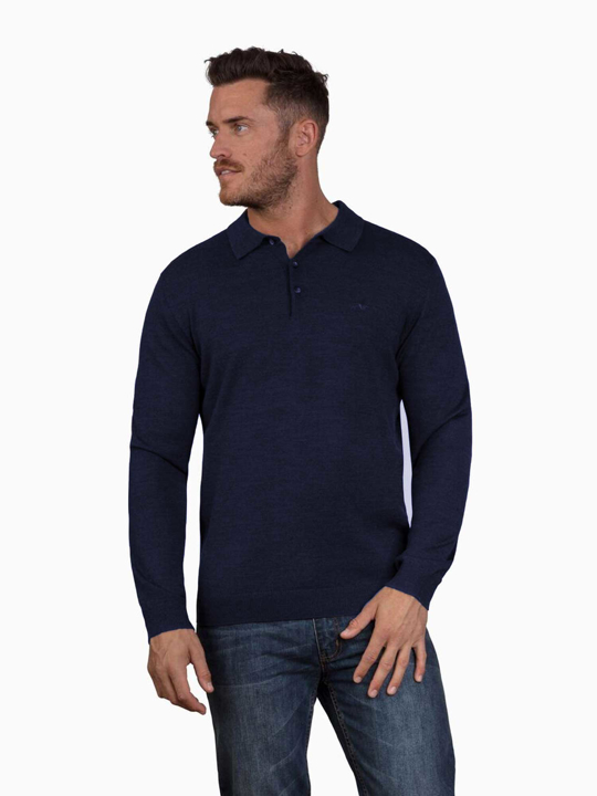 Raging Bull - Long Sleeve Signature Knit Polo - Denim