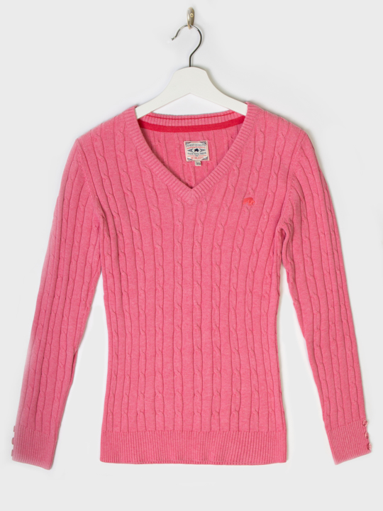 Raging Bull - Cable Knit V-Neck Jumper - Pink