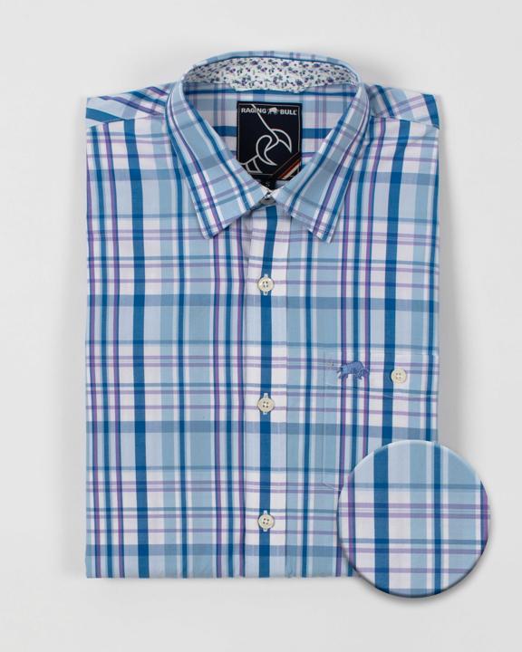 Raging Bull - Long Sleeve Check Shirt - Sky Blue