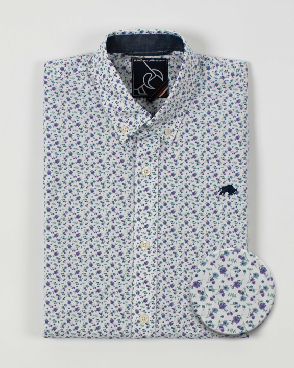 Raging Bull - Long Sleeve Micro Floral Shirt - Purple
