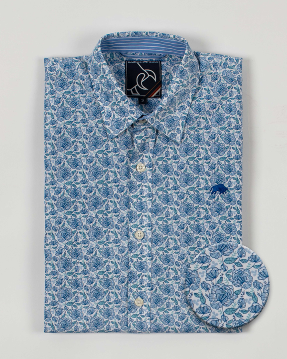 Raging Bull Long Sleeve Ditzy Floral Shirt - Sky Blue