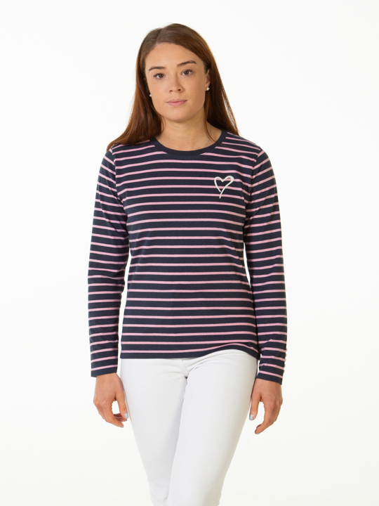Raging Bull Long Sleeve Stripe Tee - Pink & Navy