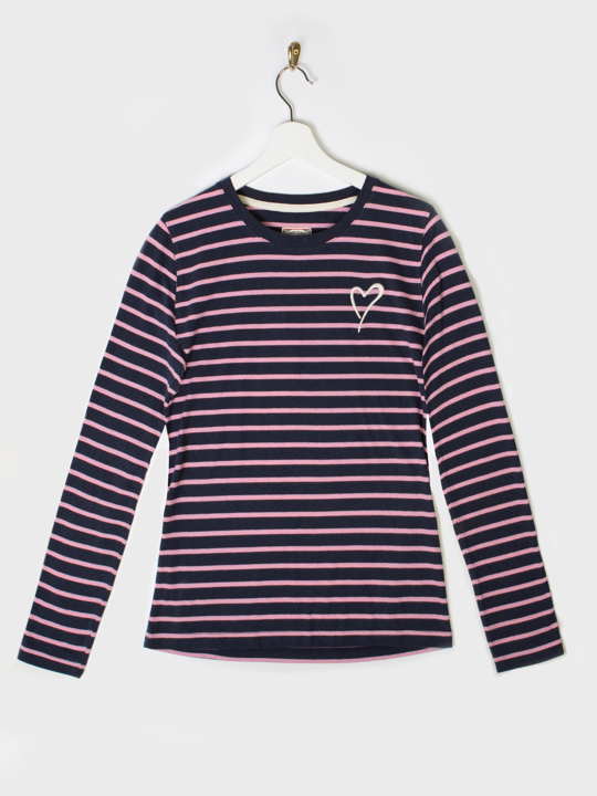 Raging Bull - Long Sleeve Stripe Tee - Pink & Navy