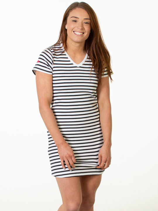 Raging Bull - Breton Stripe Dress - White