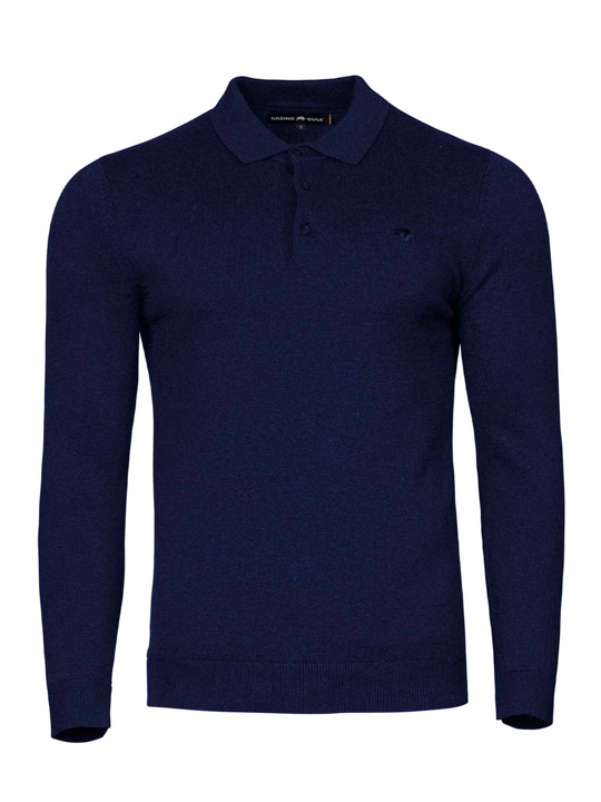 Raging Bull - Big & Tall - Long Sleeve Signature Knit Polo - Denim
