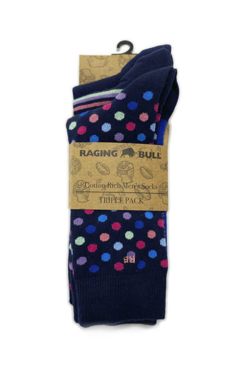 Raging Bull - 3 Pack Mens Socks - Cobalt Blue