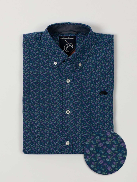 Raging Bull - Short Sleeve Lavender Print Shirt - Navy