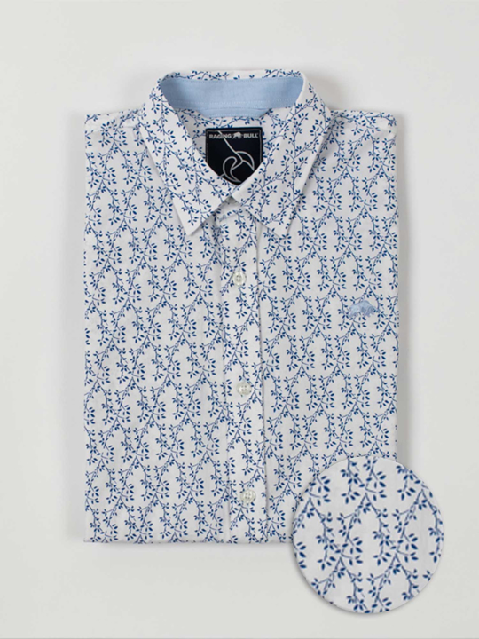 Raging Bull - Big & Tall Short Sleeve Spring Leaf Print Shirt - Cobalt