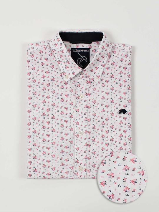 Raging Bull - Short Sleeve Micro Rose Print Shirt - Pink