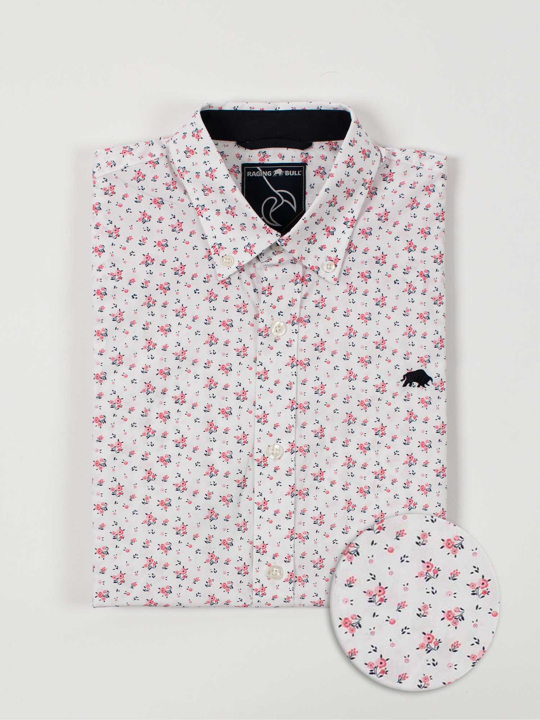 Raging Bull - Big & Tall Short Sleeve Micro Rose Print Shirt - Pink