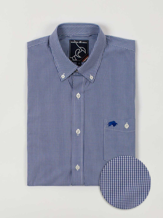 Raging Bull Big & Tall Short Sleeve Gingham Shirt - Navy