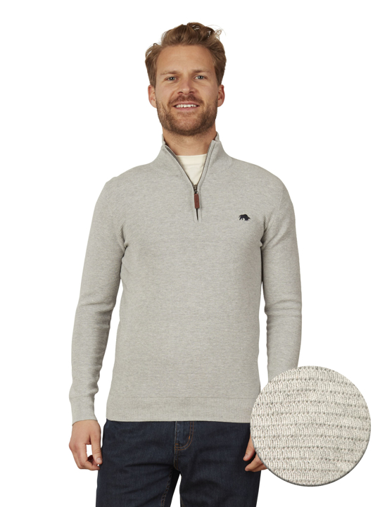 Raging Bull - Ribbed Quarter Zip - Grey